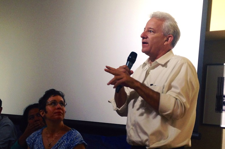 Planning Director Bill Fulton tells a crowd in Logan Heights Aug. 21, 2013, h...