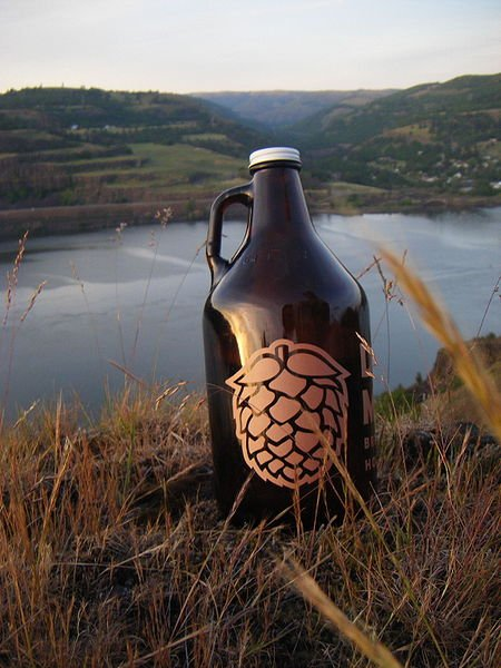 A growler of beer.
