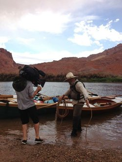 A BBC photographer films Fred Thevenin expedition leader.