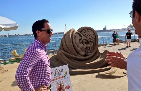 Interim Mayor Todd Gloria visits the U.S. Sand Sculpting Challenge in downtow...