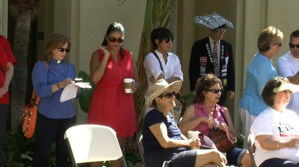 Spectators at the third annual Labor Day rally in Escondi...