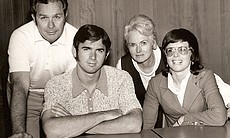 Billie Jean King with family: (l to r) Bill Moffitt (father), Randy Moffitt (brother), Betty Moffitt (mother), and Billie Jean King (née Moffitt).