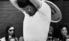 Billie Jean King of Long Beach, Calif., puts her hand on her head as she wins a point in semifinals match against France's Francoise Durr at the Women's Singles competition at Wimbledon, England on Wednesday, July 1, 1970. Billie Jean went ahead to the finals by defeating Francoise 6-3, 7-5.