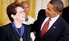 U.S. President Barack Obama awards the Presidential Medal of Freedom to tennis champion Billie Jean King during a ceremony in the East Room at the White House on August 12, 2009. Obama awarded 16 individuals the 2009 Presidential Medal of Freedom.