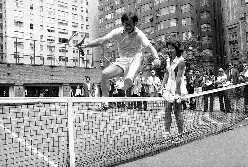 Wimbledon Champ Billie Jean King holds down the...