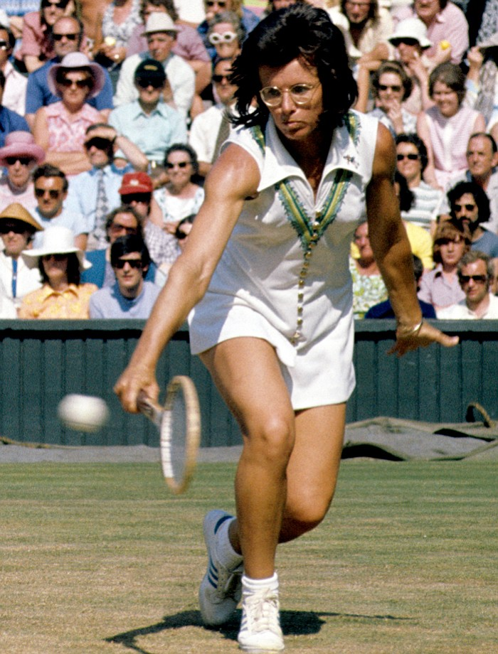 Billie-Jean King of the United States in play against Evonne Goolagong, at Wimbledon.