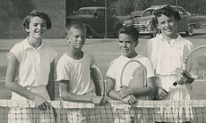 Young Billie Jean King with friends on the tennis court, Long Beach, Calif.