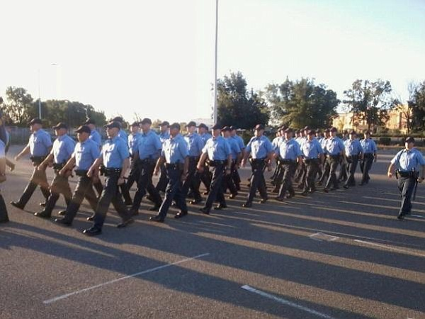 Cadets marching.