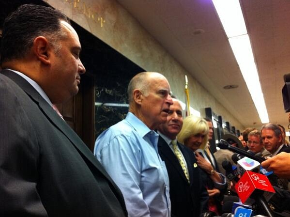 Gov. Jerry Brown and California legislative leaders announce a prisons deal o...