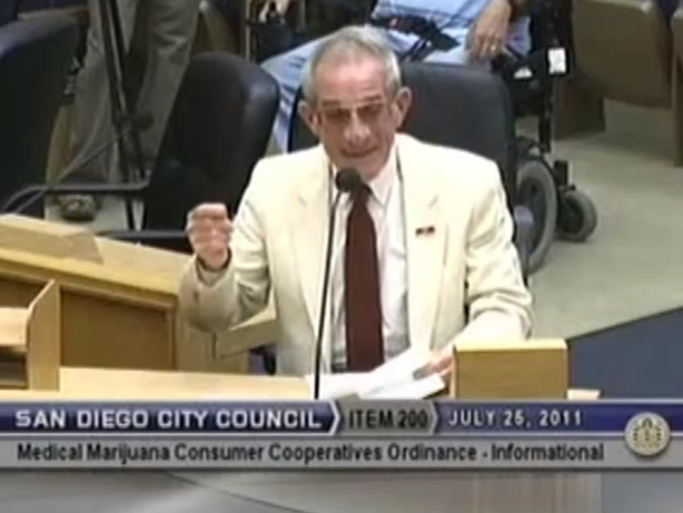 Hud Collins giving public testimony at a San Diego City Council Meeting regarding rescinding the medical marijuana ordinance. From July 25, 2011.