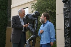 While at Stanford University, Alan Alda meets with Dr. Robert Sapolsky discussing how criminal law will need to change by incorporating neuroscientific evidence, Palo Alto, Calif.