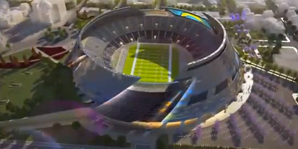 A rendering from 2011 of the proposed Chargers stadium in...