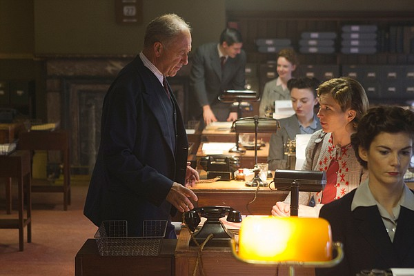 Michael Kitchen as Foyle and Honeysuckle Weeks as Sam in a scene from