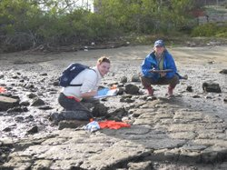 Researcher Danielle Zacherl (right) with a student.