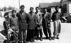 Young friends of Rudy Lopez in Zoot Suits in Los Angeles, California. Lopez was a witness to the 1943 Zoot Suit Riots as a teenager.