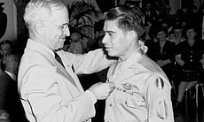 President Truman Awards Macario Garcia the Medal of Honor on August 23, 1945 at a ceremony at the White House.