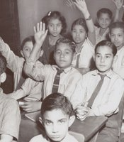 Children in desks raising hands.