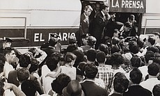 Photo of Robert F. Kennedy and Herman Badillo, while Badillo speaks.