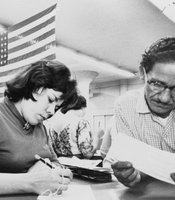 Hilda Hernandez, originally from Aguadilla, Puerto Rico, registers to vote. New York City, 1960.