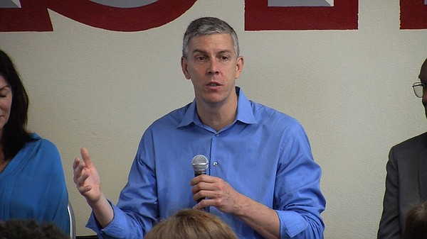 U.S. Secretary of Education Arne Duncan responds to quest...