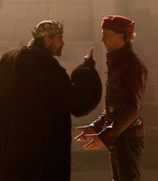 "Jeremy Irons as King Henry IV, Tom Hiddleston as Prince Hal in THE HOLLOW CROWN ""Henry IV Part I."""