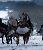 "Wide Shot with David Hayman as Earl of Worcester, Joe Armstrong as Hotspur in THE HOLLOW CROWN ""Henry IV Part I."""