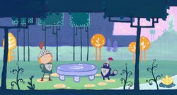 PEG + CAT follows the adorable, spirited Peg and her sidekick, Cat, as they embark on adventures (pictured in the magical forest), solve problems and learn foundational math concepts and skills.