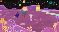 Peg and Cat's adventures take them through worlds of infinite possibilities — from farms to purple planets (pictured), to a land of pirates -- demonstrating that math is everywhere.