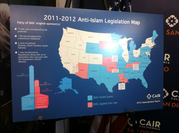 CAIR Map detailing anti-Islamic legislation