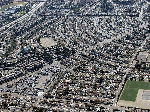 San Diego suburbs from the air.