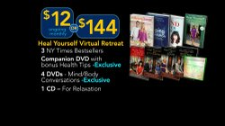 "Give at the $144 level during our TV membership campaign and receive the Heal Yourself Virtual Retreat Package including 5 DVDs, 3 NY Times bestselling hardcover books and a meditation CD. This gift also includes enrollment in the myKPBS Savers Club plus additional online access to more than 130,000 merchant offers and printable coupons, as well as a KPBS License Plate Frame (if you're a new member). The ""Heal Yourself: Mind Over Medicine"" DVD only is available at $60."