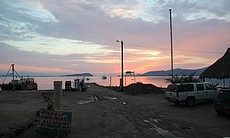 Scenic view at dawn at the ramp to launch our boat, Bahia de los Angeles.