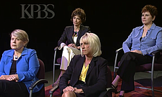 "Four prominent women in San Diego speak publicly about the unwanted sexual advances they received from former Mayor Bob Filner. Clockwise from top left: Joyce Gattas, dean of the College of Professional Studies and Fine Arts at SDSU, Patti Roscoe, a businesswoman in San Diego's tourism and hospitality industry, Sharon Bernie–Cloward, president of the San Diego Port Tenants Association and Veronica ""Ronne"" Froman, retired U.S. Navy read admiral."