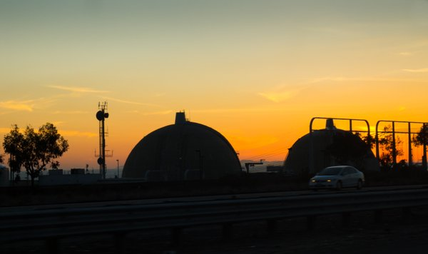 The silhouette of San Onofre Nuclear Generating Station, ...