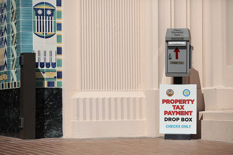 Property tax drop box in downtown San Diego.