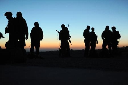 Afghan Commandos and U.S. Special Forces patrol Paktia province in November 2...