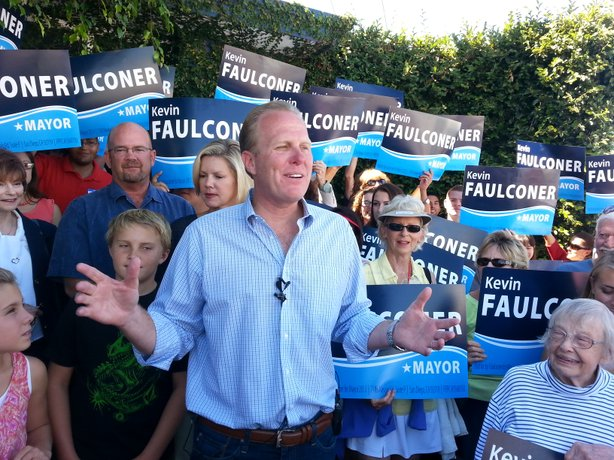 City Councilman Kevin Faulconer talks in front of supporters at his mayoral c...