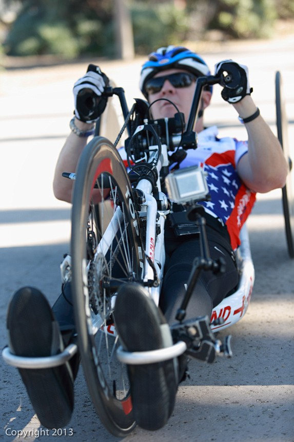 Al Kovach hand-cycling in Tidelands Park on Coronado.