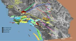 This map shows the three-dimensional structure of major faults beneath Southern California.