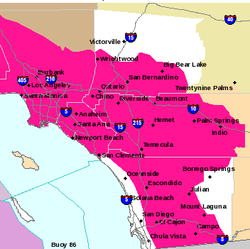 This map shows the areas of San Diego County that are under a red flag warning due to high Santa Ana winds and low humidity levels.