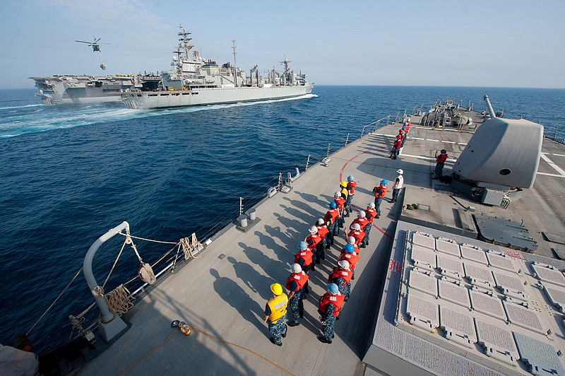 The USS Higgins (DDG 76) in the Arabian Gulf on Memorial Day in 2011.