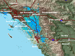 A trough of low pressure from the Pacific Northwest is moving into San Diego County and is expected to bring rain and cool temperatures beginning on Wednesday, October 10, 2013.