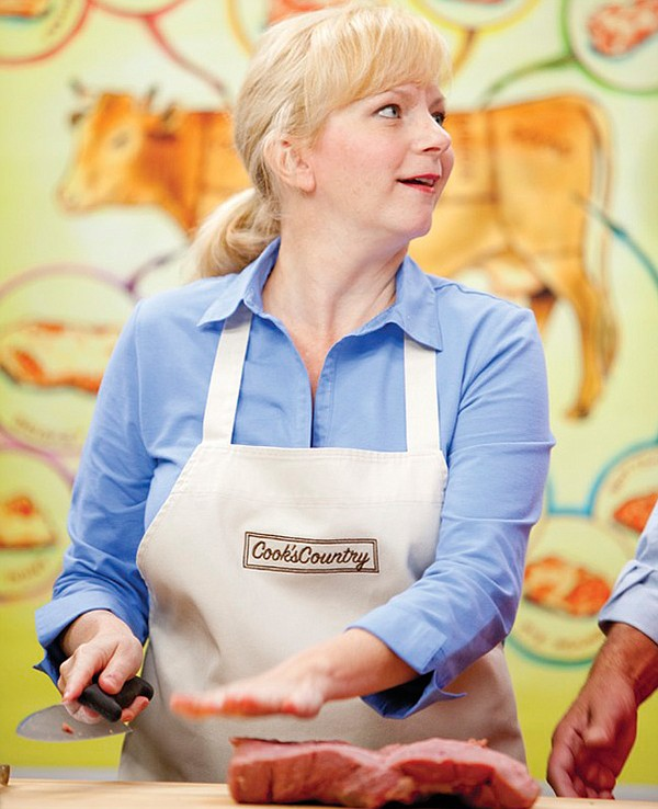 Test cook Bridget Lancaster (pictured) shows host Christopher Kimball how to ...