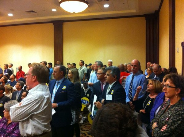 The crowd inside the meeting to determine the convention ...