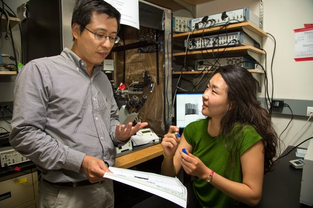 Lei Wang (left) and Ji-Yong Kang (right) have proven that it's possible to manipulate brain biology using light.