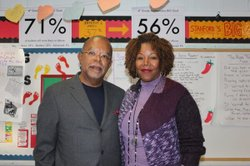 Henry Louis Gates, Jr. and Ruby Bridges at William Frantz Elementary School in New Orleans during the filming of THE AFRICAN AMERICANS: MANY RIVERS TO CROSS WITH HENRY LOUIS GATES, JR.
