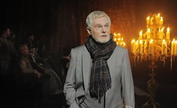 "Derek Jacobi on the set of Columbia Pictures' ""Anonymous,"" a film about the disputed authorship of Shakespeare's plays."