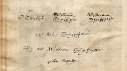 "The six known signatures of William Shakespeare. ""All he left us in his own hand are six shaky signatures in which he uses eleven letters of the alphabet. There's nothing else. He never left a letter, a memo, anything."" - Charles Beauclerk"