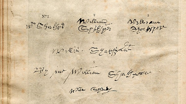 The six known signatures of William Shakespeare.