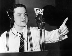 "Orson Welles rehearsing ""Campbell Playhouse"" for CBS Radio, November 1938. This was a few weeks after the ""War of the Worlds"" broadcast."